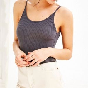 Urban Grey Ribbed Bodysuit